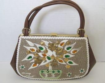 Vintage Caron Original Hand Decorated Money Tree Purse Handbag
