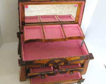 Vintage Wood Musical Jewelry Box Hand Made Hand Carved