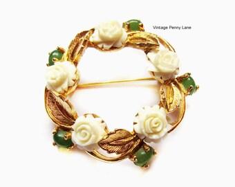 Vintage Carved Bone Flower / Jade Gemstone Wreath Brooch / Pin