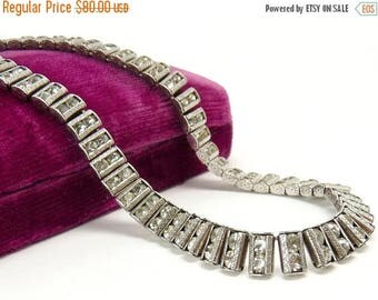 Art Deco Catamore Sterling Silver Rhinestone Necklace Bridal Wedding Jewelry
