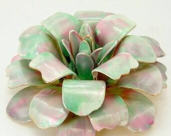 Vintage Mod Enamel Flower Brooch Pink & Mint Green Pastel