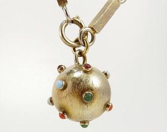 Vintage Sputnik Ball Charm Bracelet Gold Filled Gemstone Bracelet