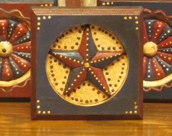 Wood Patriotic/Americana Blue Block w/Star