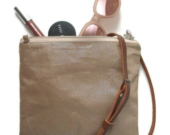 Casual CrossBody Bag in Metallic Linen