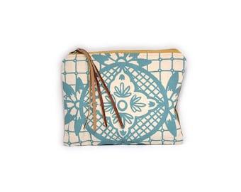 cosmetic pouch • geometric floral print make up bag • aqua blue print - waxed canvas - geometric print • large clutch - make up bag