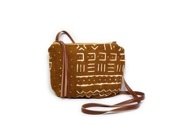date purse  • african mudcloth - crossbody bag • dark mustard brown mudcloth - gifts under 50 - simple cross body bag - african textile