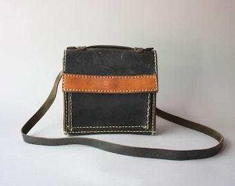 1940s Shoulder Bag / Vintage 40s Leather Cross Body Bag / Vintage Black Leather Purse
