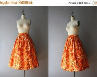 STOREWIDE SALE 1950s Skirt / Vintage 50s Pleated Skirt / 1950s Orange Floral Cotton Skirt S small