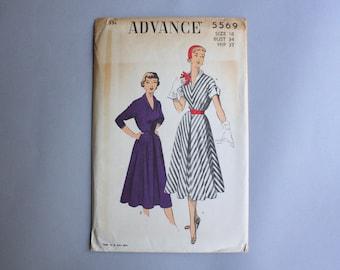 1950s Sewing Pattern Vintage 50s Dress Uncut Factory Fold Advance 5569 Size