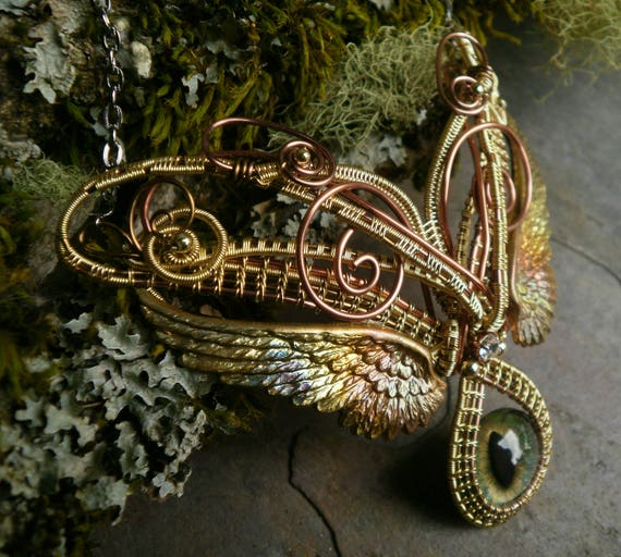 Gothic Steampunk Golden Green Eye Necklace with Wings
