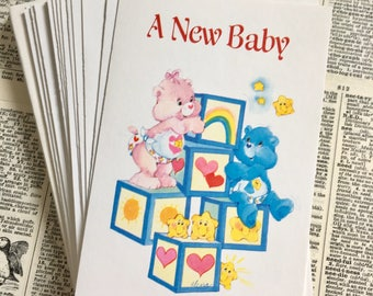 Set of 21 vintage Care Bears baby announcements 1980s Baby Hugs Tugs