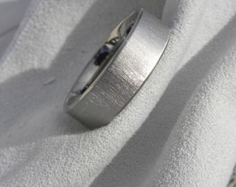 Titanium Ring, Wedding Band, 7mm, size 9.5, Frosted, Clearance