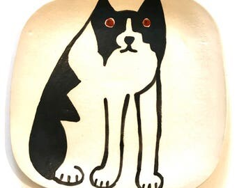 Dog Plate - Border Collie - black white 9 inch square stoneware - Firecat Pottery HM