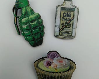 3 x Wooden Brooches - Grenade, Bottle, Cupcake (SET A10)