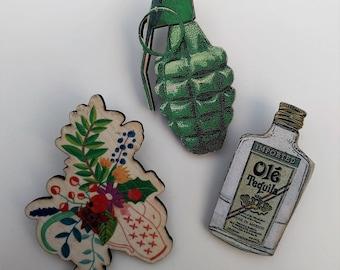 3 x Wooden Brooches - Grenade, Bottle, Flower (SET A12)