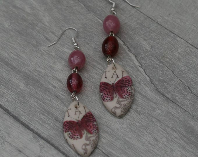 Pink Butterfly Statement Earrings, Insect Jewelry
