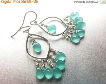 QUICKIE SALE 15% OFF, Aqua Ocean Blues Earrings, Sterling Silver with Aqua Blue Chalcedony, bright blue gemstone earrings
