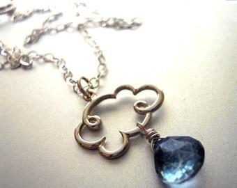 20% off FLASH SALE, Cloud Necklace, Rain Necklace, Raindrop Necklace, Gemstone Necklace, Rain Cloud Charm Necklace with Blue Mystic Quartz