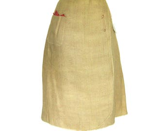 Burlap WRAP Skirt with Red Rooster Print Cotton Lining / Large Patch Pocket / Kilt Pin / Country Looks by Bobbie Brooks / Dead Stock w/ Tags