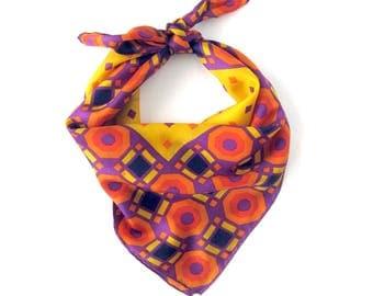 Vintage Geometric Silk Scarf / Hand Rolled Hem / Orange Purple Yellow Red  / Mod Scarf / Bright Colors / Silk Twill / Op Art Print Scarf
