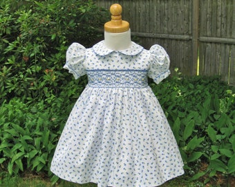 Hand smocked, Size 18Mo, Baby dress, Tiny blue flowers, White dress, Toddler, Ready to ship, Party dress, Heirloom, Wedding, Birthday gift