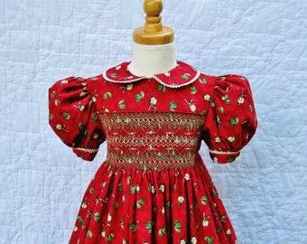 Girls smocked, holiday dress, size 4T, Ready to ship, Red dress, Winter birds, Christmas, Thanksgiving, Handmade, Tea length, Heirloom,