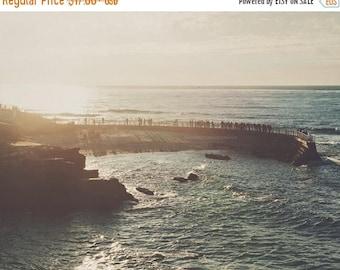 SALE beach photography, photo of La Jolla, San Diego photograph, sunset landscape travel print, California decor, blue, ocean water Pacific