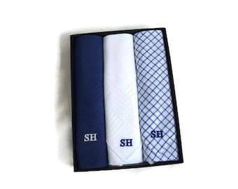 Monogrammed Handkerchiefs Mens   Blue White Plaid Solids  Set of 3