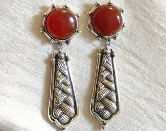 Carnelian Earrings, Sterling Silver & 14k, Orange Red Agate Stone,  Dangles, Handmade