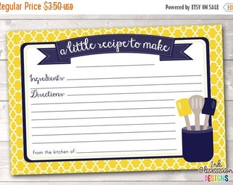 35% OFF SALE Printable Recipe Card Design - Yellow and Navy Blue Kitchen Utensils - INSTANT Download