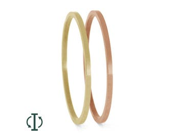 Precious Metal Inlay Component For Interchangeable Titanium Rings, Thin Yellow Gold or Rose Gold Pinstripe, Adjustable Titanium Rings