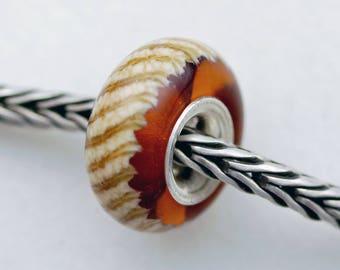 Small Tabby Cat Twist on Amber Bead -  Artisan Glass Bracelet Bead - (JUL-56)