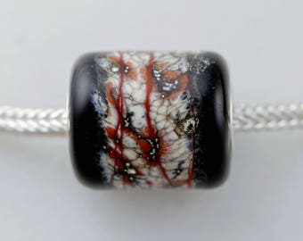 Unique Big Organic Barrel Bead - Artisan Glass Bracelet Bead - (DEC-80)