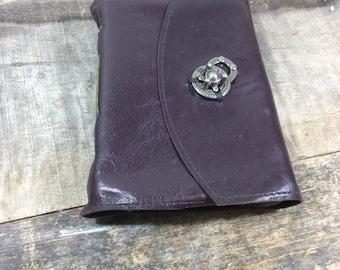 Dark Purple Leather Journal with Twist Latch