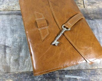 Blonde Leather Journal with Skeleton Key - LG