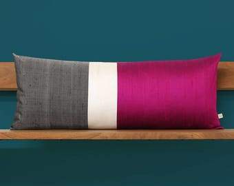 14x35 Fuchsia Silk Colorblock Pillow Cover with Cream and Charcoal Gray Stripes by JillianReneDecor, Luxury Gift for Her, Hot Pink Magenta