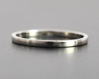 1.5mm 18K Palladium White Gold Ring, Flat Edge, Simple Modern Design, Eco Friendly Wedding Ring, Skinny Gold Band