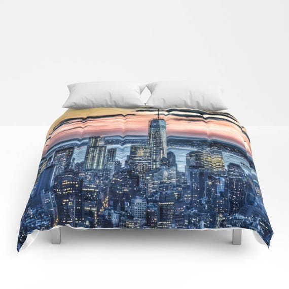 Sunset in New York Comforter, New York Bedding, Manhattan Bedspread, Decorative, Unique, Blanket, City Urban Decor, Dorm Bedding, Teen