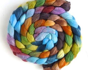 Merino/ Silk Roving (Top) - Handpainted Spinning or Felting Fiber, Time Stood Still