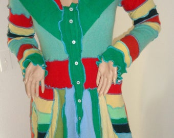 100% cashmere rainbow coat sz M  button up cardigan, dress, thumb hole sleeves , long elf hood upcycled sweaters katwise style handmade USA