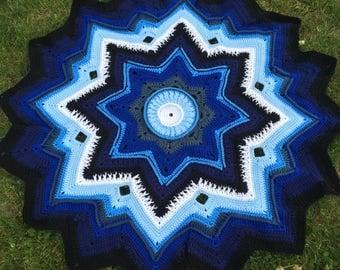 Crochet Blue Star Baby Lap Blanket