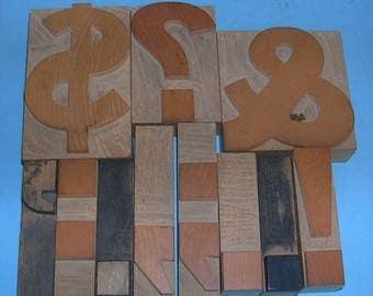 Pick Your Antique Vintage Letterpress Punctuation Marks Wood Punctuation Marks Wooden Punctuation Marks