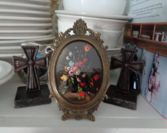 Vintage Small picture of Flowers Ornate Metal frame marked Italy