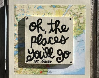 """Hand Made Sign Dr Seuss Quote Vintage Map Collage Wall Art Kid Nursery Travel Gift Adventure """"Oh, the places you'll go"""""""