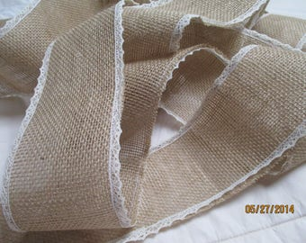 Burlap , 1.5 Inch Wide Burlap Ribbon,  Creamy Lace ,3.5 yards, Sold by the  Roll