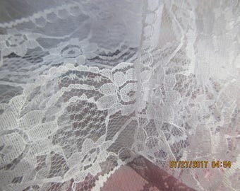 3 Yards, White Lace, 1.5 inches wide,  Nylon Lace