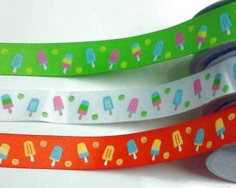 7/8 x 10 yds GROSGRAIN RIBBON - Ice Cream Bar-Popsicle..Your Choice of Colors**Use Code for 25% OFF**