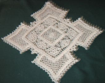 "Crochet Cotton Doily,17"" long by 17"" wide, white, five square doily"