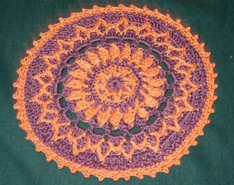"Crochet Cotton Doily, 7 1/2"" wide, Purple and peach Round"