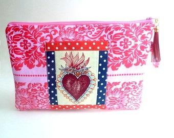flaming heart clutch bag, sacred heart wallet, makeup bag, folklorico, wristlet, rockabilly, Kindle bag, zipper pouch, gift for her